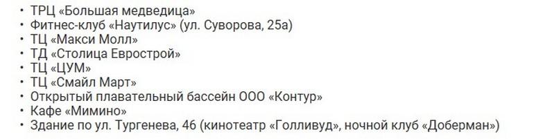 Список опасных торговых центров Хабаровска