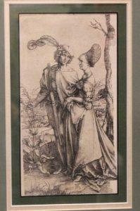 «Прогулка» Альбрехта Дюрера. Выполнена в технике офорт. В первоначальном варианте за деревом прячется Смерть. Но художник отсек ее резцом, потому что покупателям не понравилась фигура женщины в капюшоне, которая подсматривала за влюбленными.