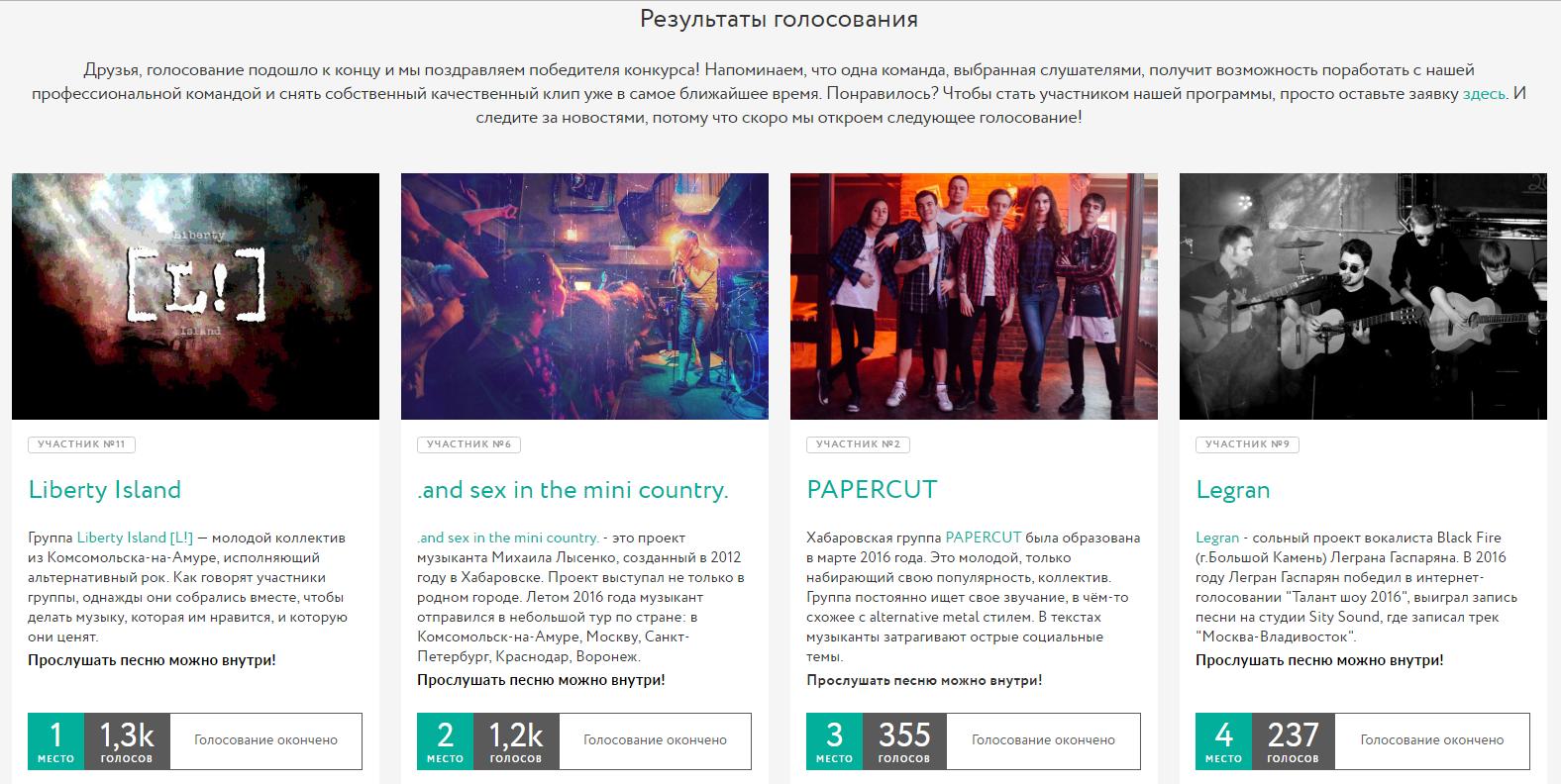 Съемку клипа выиграли группы из Комсомольска и Хабаровска